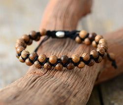 Shamballa Handmade COUPLES Wood Black Cord Bracelet