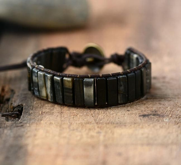 Natural Stone Leather Black Wrap Bracelet