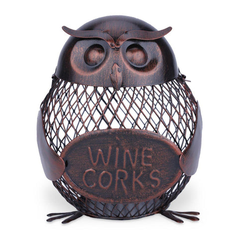 Handmade Owl Mesh Wine Bottle Holder Sculpture for Holding Corks