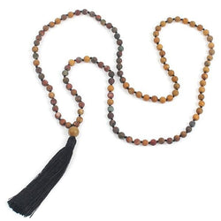 Long Natural Stone Mala Beads Necklace