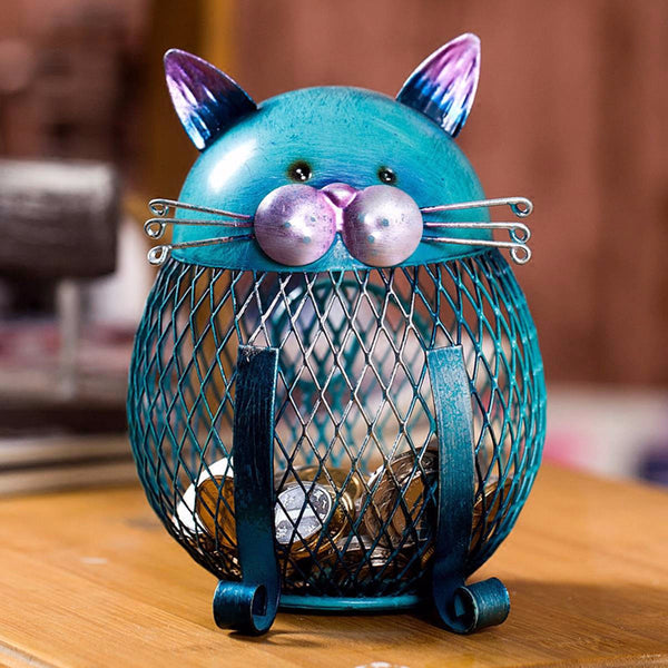 Handmade Blue Cat Metal Sculpture Made to Hold Coins