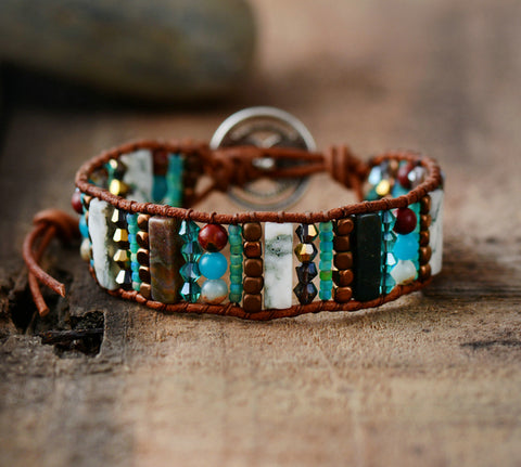 Natural Stones Crystal Beads Leather Bracelet
