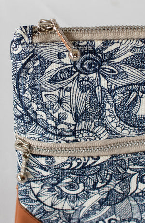Clutch: Double Zipper- Blue Flowers - KNOW INDO