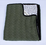 Blanket: forest green and white w/ orange dots - KNOW INDO