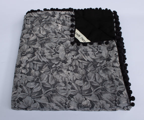 Blanket: Dark Grey Flowers - KNOW INDO