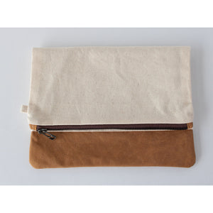 Clutch Fold Over: Canvas & Brown Cotton - KNOW INDO