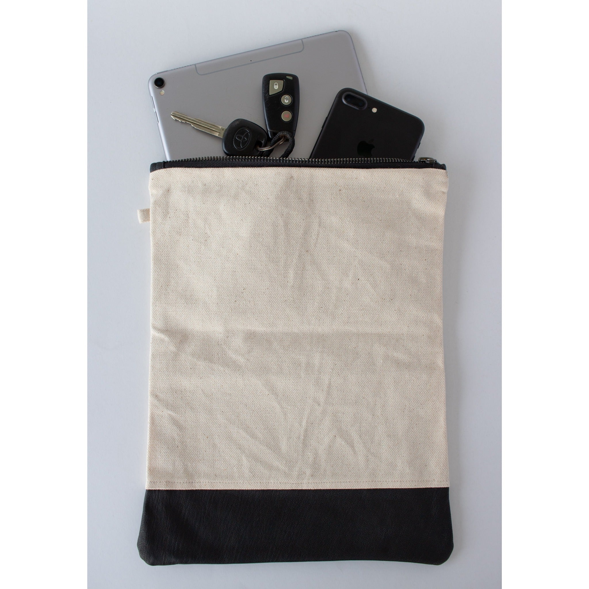 Clutch Fold Over: Canvas & Black Cotton - KNOW INDO