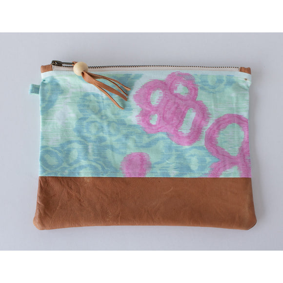 Clutch: Mint with a pink flower & Creme cotton - KNOW INDO