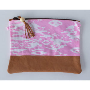 Clutch: Pink Linen & Mint Cotton - KNOW INDO