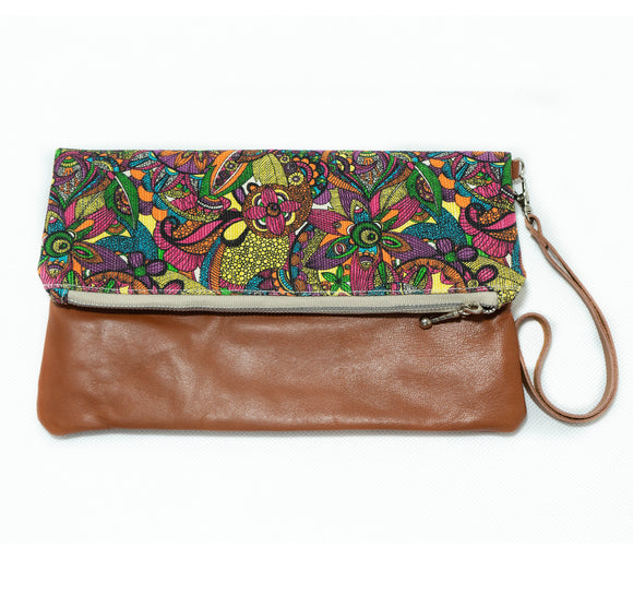 Clutch: Fold Over- Funky Colors - KNOW INDO