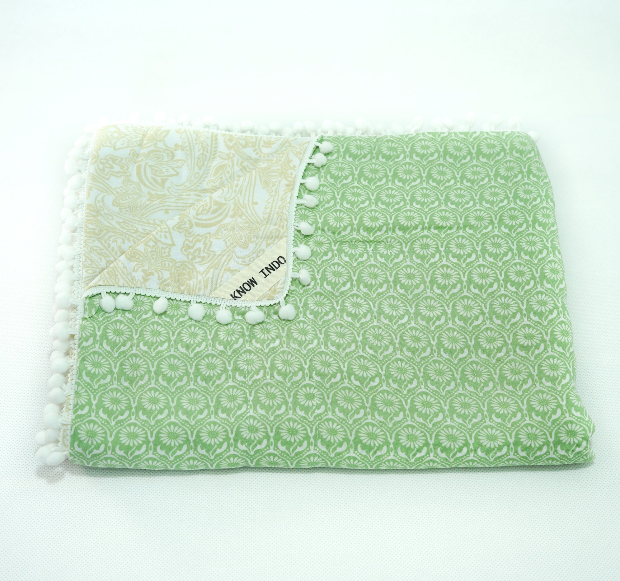 Blanket: Green & White Flowers - KNOW INDO