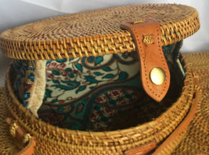 Drum Bag Leather Shoulder Strap: Teal Batik - KNOW INDO