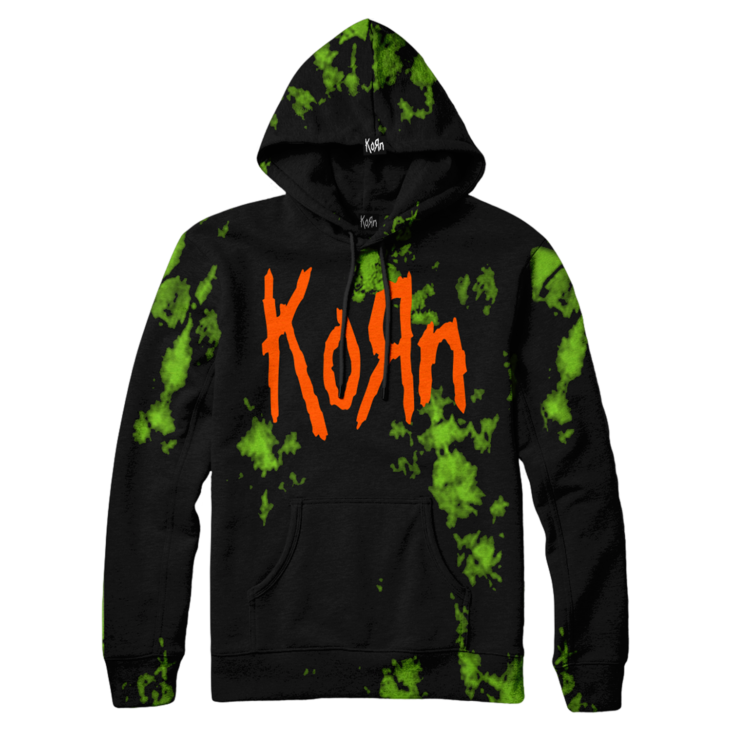 Relax and unwind with this Korn Official / Limited Edition Slime Hoodie! Green and black custom crystal wash hoodie featuring the legendary Korn Logo printed on the front in orange ink. Exclusive to kornlimited.com