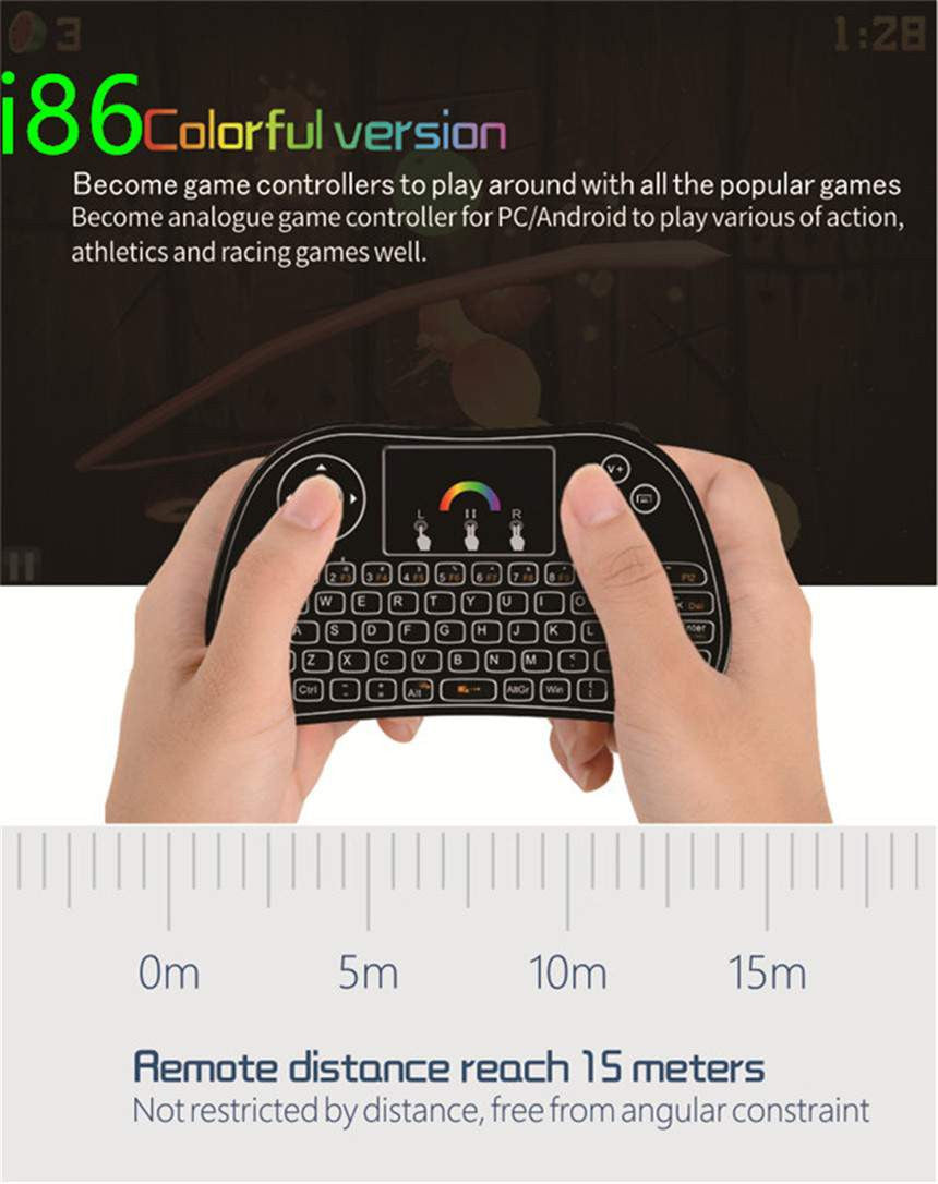 I86 Backlit Wireless Mini Keyboard Remote Control Colorful Backlight Air  Mouse for Android TV Box IPTV Xbox PS3 Gamepad pk I8