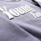 YOUNG FAM TYPEFACE CREWNECK - GREY BAMBOO TERRY