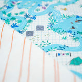 YOUNG FAM BLUE LAGOON MAP QUILT - COTTON
