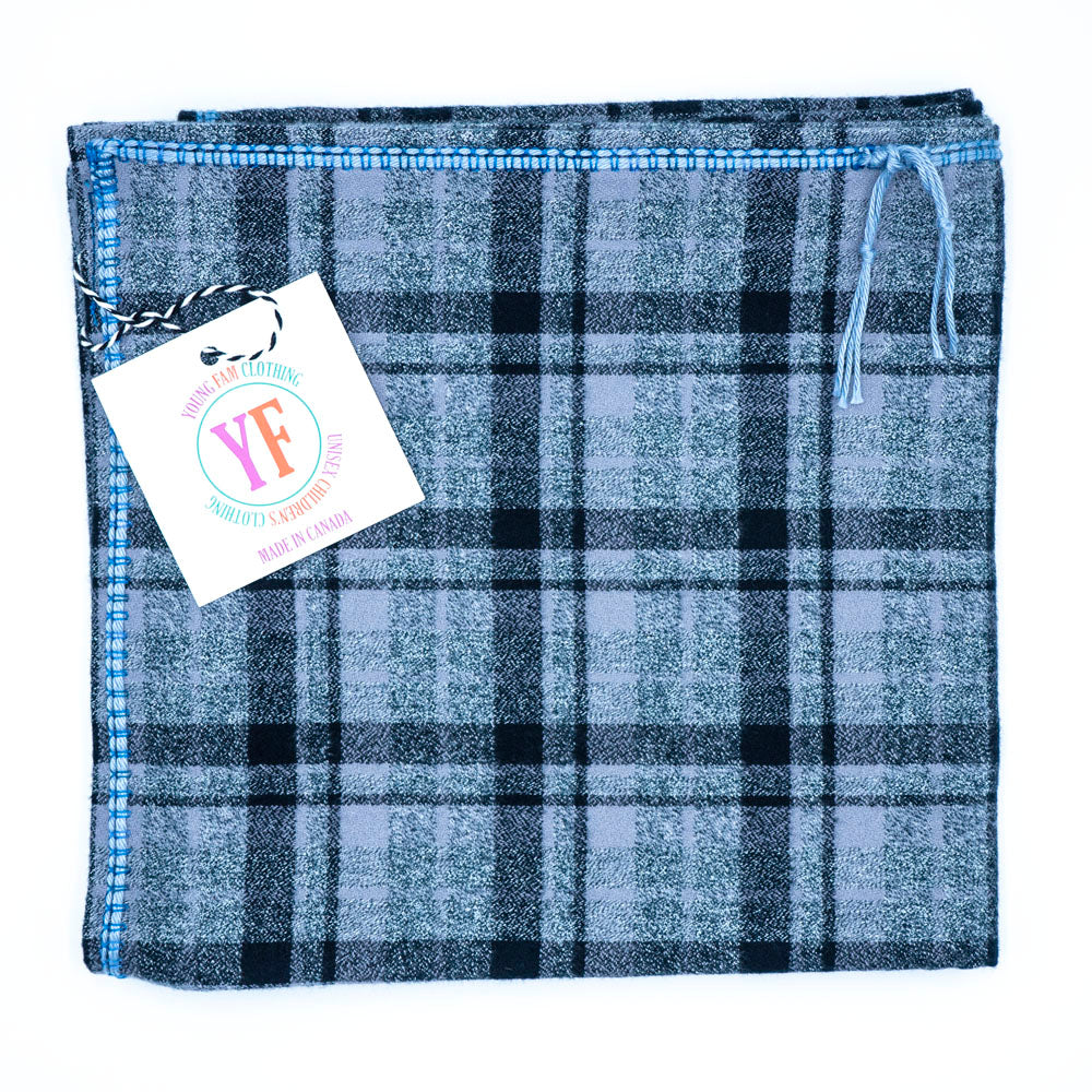 YOUNG FAM BLUE CHECK BLANKET - FLANNEL