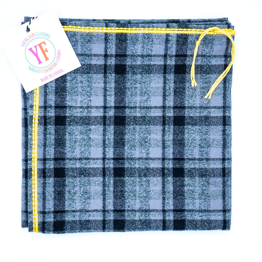 YOUNG FAM YELLOW CHECK BLANKET - FLANNEL