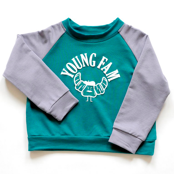 YOUNG FAM GANGSTER CARBS CREWNECK - DEEP TEAL & GREY BAMBOO TERRY