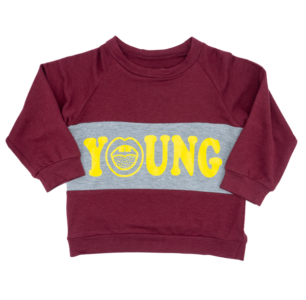 YOUNG FAM WHAT'S OLD IS NEW AGAIN CREWNECK - DEEP RED BAMBOO TERRY