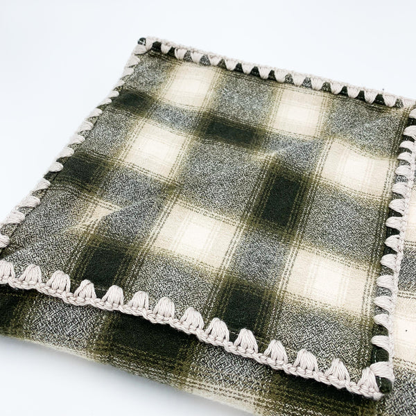 YOUNG FAM GREY CHECK BLANKET - FLANNEL