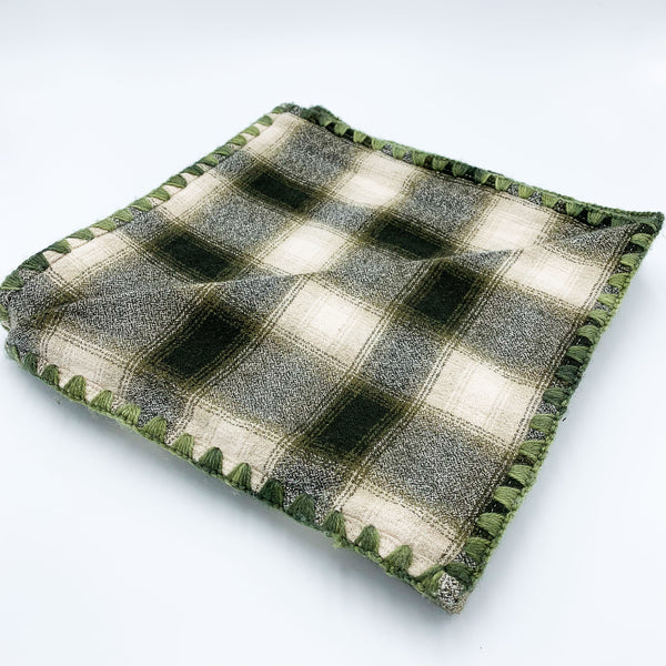 YOUNG FAM GREEN CHECK BLANKET - FLANNEL