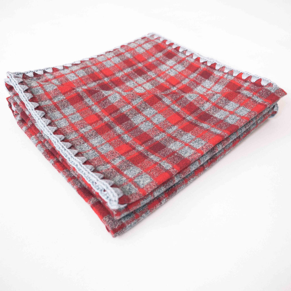 YOUNG FAM RED CHECK BLANKET - FLANNEL