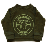 YOUNG FAM THINK YOUNG CREWNECK - HEATHER FOREST BAMBOO TERRY