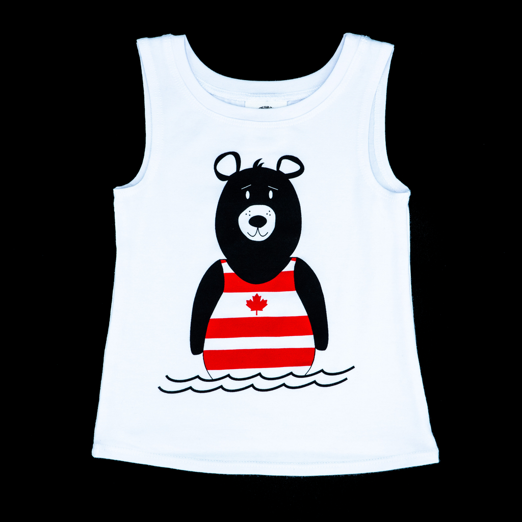 YOUNG FAM BEARY CANADIAN TANK - WHITE BLACK BEAR BAMBOO COTTON