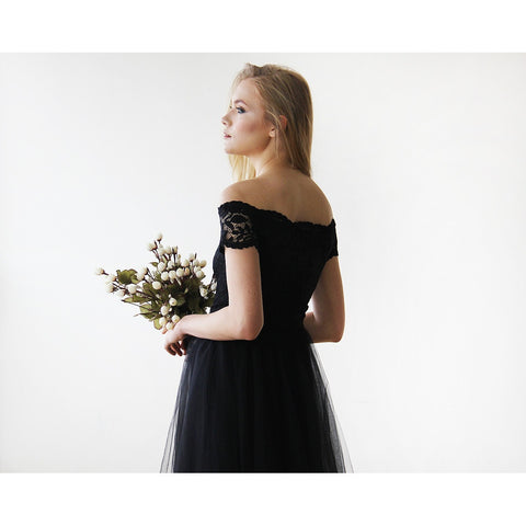 Black Off-the-Shoulders Tulle & Lace Midi Short Sleeves Dress 1153
