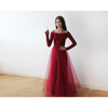 Off-The-Shoulder Burgundy Lace and Tulle Maxi Dress 1134