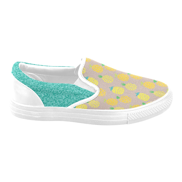 Tan Pineapple Vine Women's Slip-on Canvas Shoes