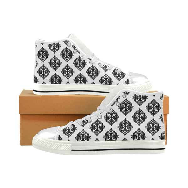Micciah Black&White Tribal Print Women's Classic High Top Canvas Shoes (Model 017)
