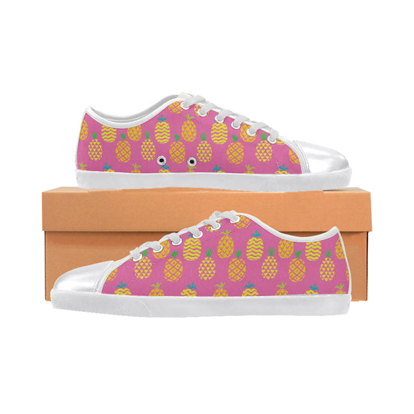 Pink Pineapple Passion-Women's Canvas Shoes (Model 016)