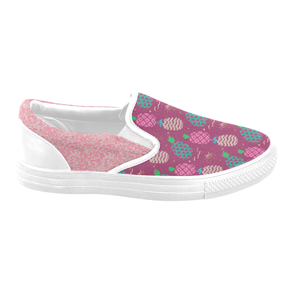 Burgundy Pineapple Vine Women's Slip-on Canvas Shoes