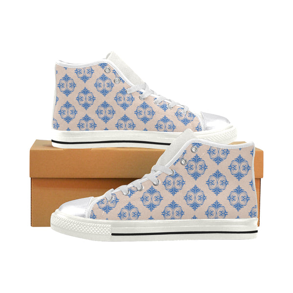 Micciah Pink & Blue Tribal Print Women's Classic High Top Canvas Shoes (Model 017)