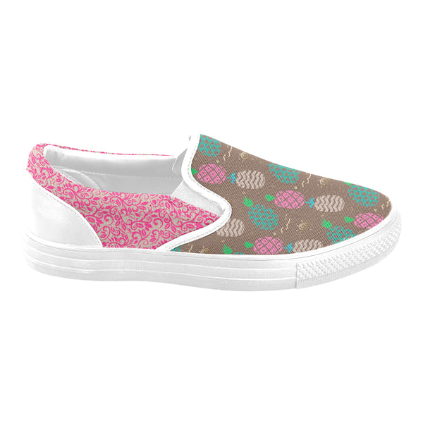Brown Pineapple Vine Women's Unusual Slip-on Canvas Shoes (Model 019)
