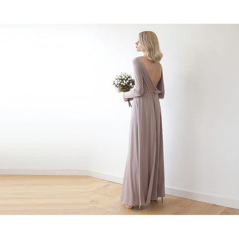 Taupe Long Sleeve Formal Maxi Dress With Open-back 1041