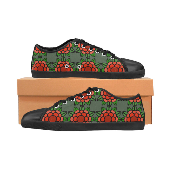 Flower Power Black Women's Canvas Shoes (Model 016)