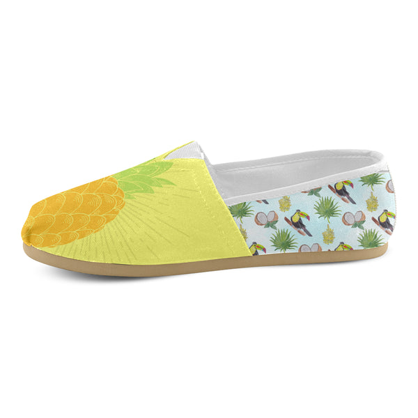 Pineapple Tucan Print Block Women's Casual Shoes (Model 004)