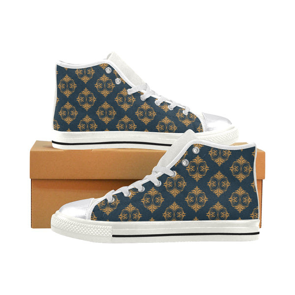 Micciah Blue & Gold  Women's Classic High Top Canvas Shoes (Model 017)