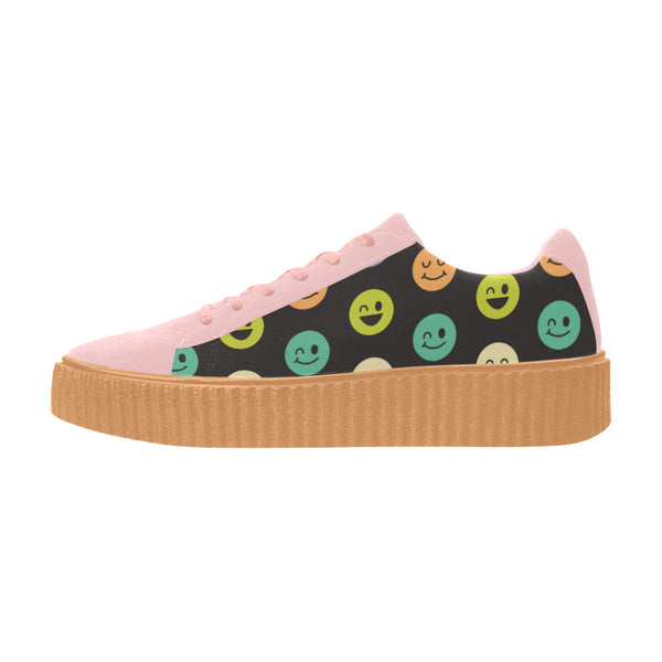 Smiley Face Pink Pisces Leather Women Shoes (Model 306)
