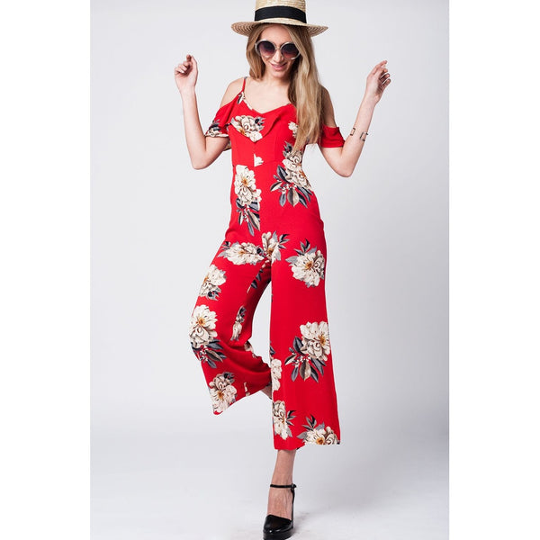 Red midi jumpsuit with floral print and ruffles