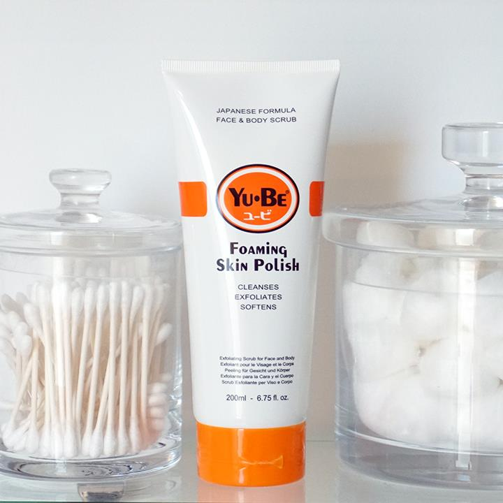 Foaming Skin Polish is a hydrating face and body exfoliator that scrubs away layers of rough, dry skin- Yu-Be