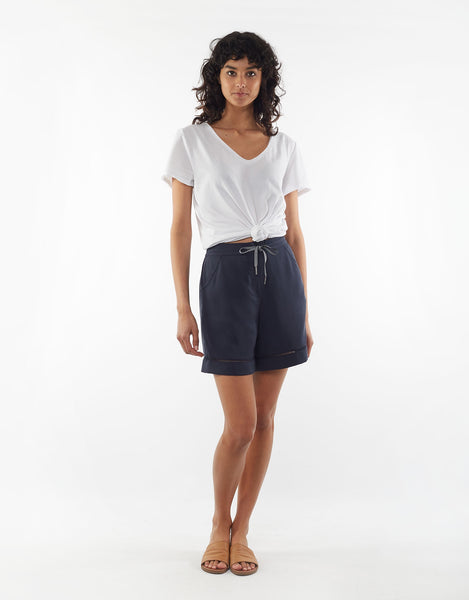 Hello Pattern Elm Bree Shorts Navy