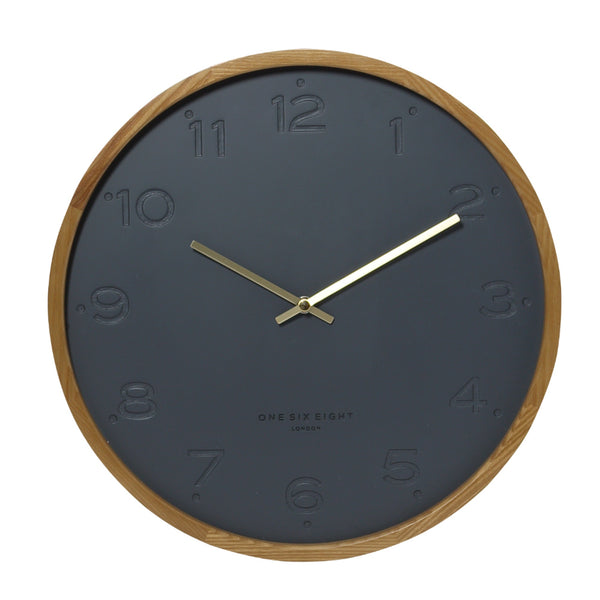 Freya Wall Clock 50cm Charcoal Hello Pattern