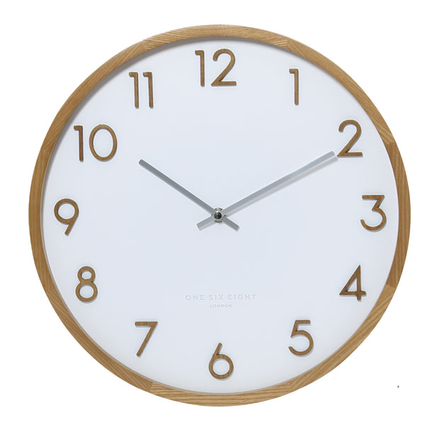 Scarlett Silent Wall Clock 35cm White Hello Pattern