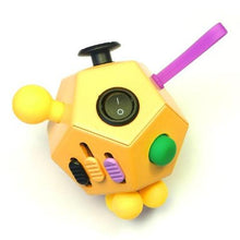 12 Sided Fidget Cube Yellow - Happy Hands Toys