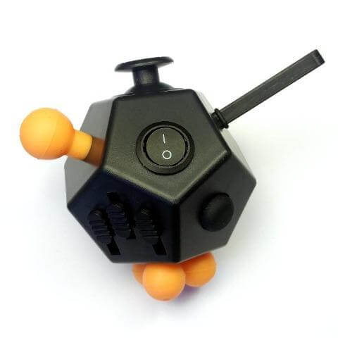12 Sided Fidget Cube Black/Orange - Happy Hands Toys