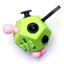 12 Sided Fidget Cube Green/Pink - Happy Hands Toys